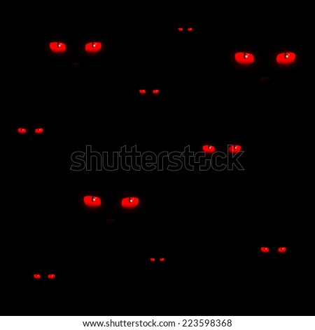 red cat eyes halloween pattern