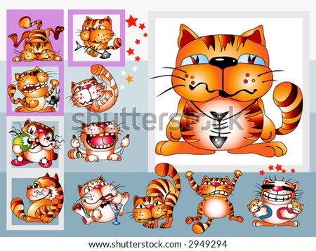 Red cat. Isolated clip-art and children's illustration for yours design, postcard, album, cover, scrapbook, etc