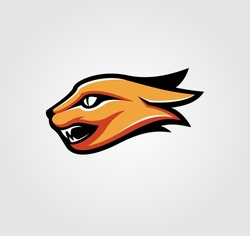 Red cat mascot logo vector