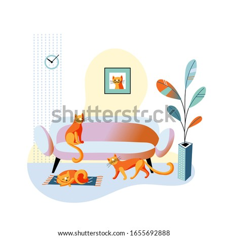 Red cat sitting on sofa, lying sleeping on mat, walking on floor. Cozy home living room in minimalist design. Flowerpot vase with flower. Picture with cute kitten muzzle on wall. Vector illustration