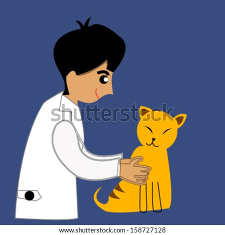 red cat with veterinarian
