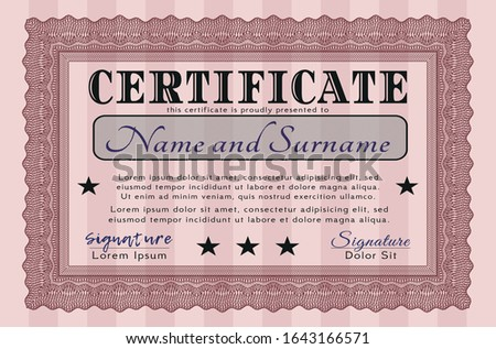 Red Certificate of achievement. Printer friendly. Customizable, Easy to edit and change colors. Money style design.