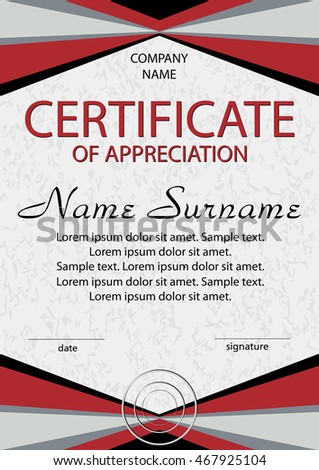 red certificate of appreciation diploma vertical template winning