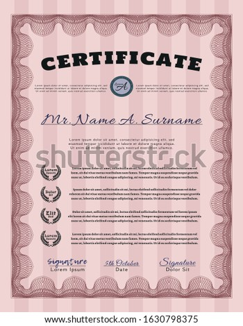 Red Certificate template. Artistry design. With guilloche pattern and background. Customizable, Easy to edit and change colors.