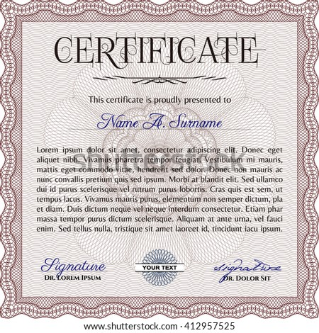 Red Certificate template. Detailed. Printer friendly. Nice design.