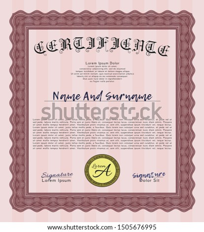 Red Certificate template. Excellent design. With linear background. Customizable, Easy to edit and change colors.