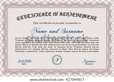 Red Certificate template or diploma template. Beauty design. Complex background. Vector pattern that is used in currency and diplomas.