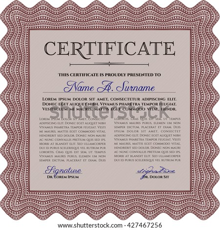 Red Certificate template or diploma template. Complex background. Beauty design. Vector pattern that is used in currency and diplomas.