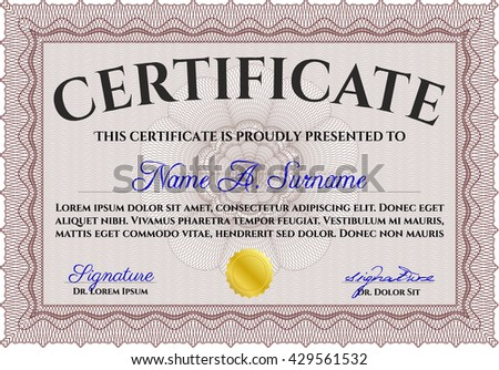 Red Certificate template or diploma template. Complex background. Vector pattern that is used in currency and diplomas.Beauty design.