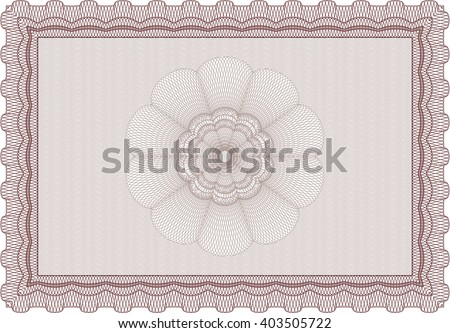 Red Certificate template or diploma template. Vector pattern that is used in currency and diplomas.Complex background. Superior design.