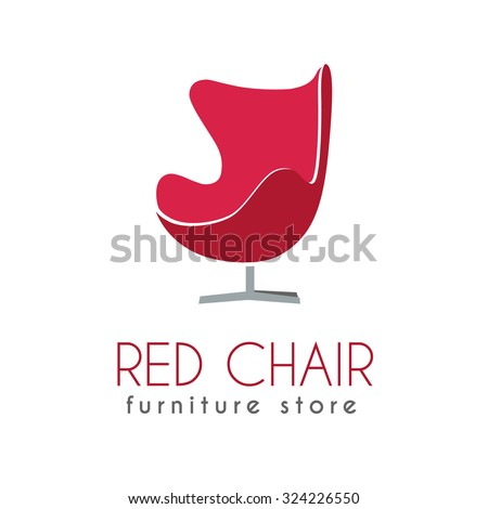 Red Chair Business Sign Vector Template For Furniture