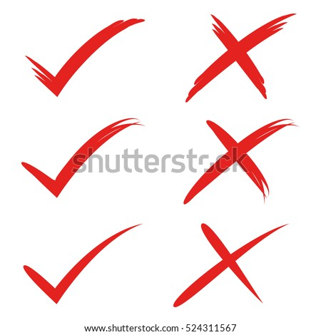 red check mark and cross mark
