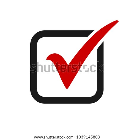 Red check mark icon in a box. Tick symbol in red color, vector illustration.