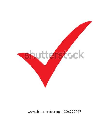 Red check mark icon. Tick symbol, tick icon vector illustration