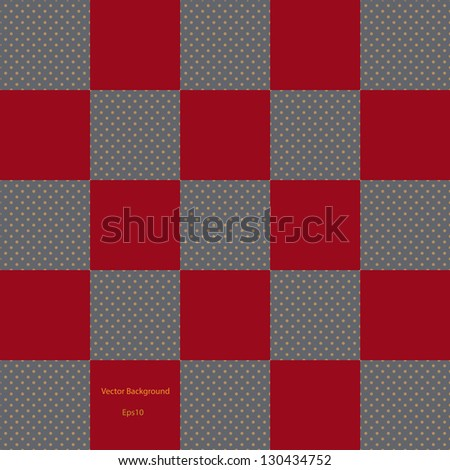 Red checkered pattern with brown dot background, vector illustration