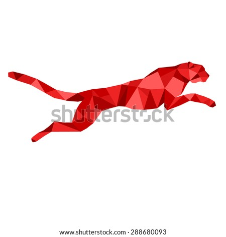 red cheetah stylized triangle