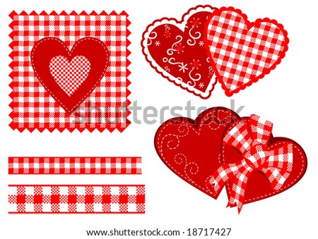 red cheked hearts scrapbooks - stock vector