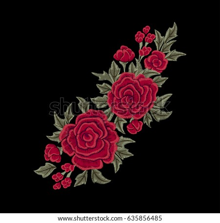 Red chic roses. Embroidery. Vector flowers.