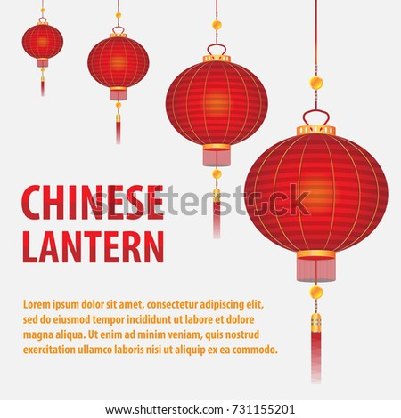 red chinese lanterns isolated on white background with place for text, objects for design vector illustration