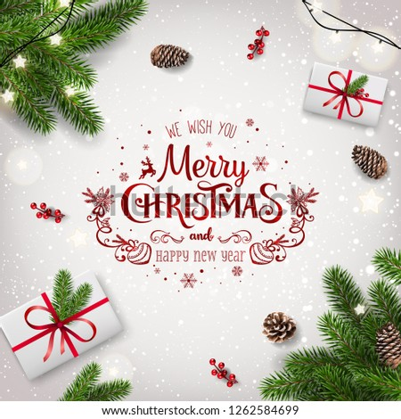 Red Christmas and New Year Typographical on white background with fir branches, gift boxes, pine cones, garland of stars. Xmas  and New Year theme. Vector Illustration #1262584699