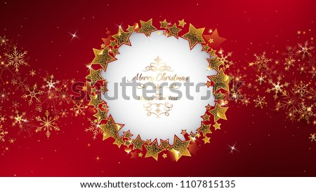 red christmas background frame rounding by star glitters,inside circle has die cut and some example luxury theme text,corner lay down by gold snowflakes and some glitters like spread out from center - Shutterstock ID 1107815135