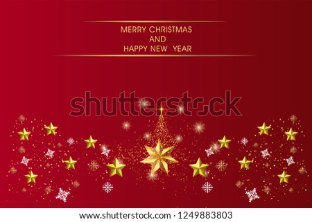 Red Christmas Background with Border made of Cutout Gold Foil Stars and Silver Snowflakes, background template vector #1249883803