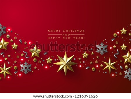 Red Christmas Background with Border made of Cutout Gold Foil Stars and Silver Snowflakes. Chic Christmas Greeting Card.