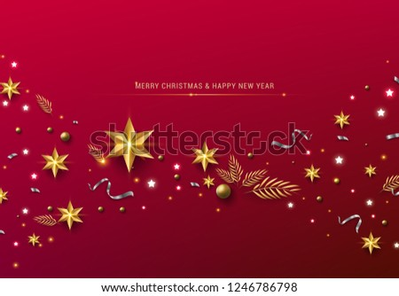 Red Christmas Background with Border made of Cutout Gold Foil Stars and Silver Snowflakes. Chic Christmas Greeting Card. #1246786798