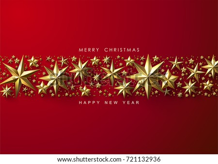 Red Christmas Background with Border made of Cutout Gold Foil Stars. Chic Christmas Greeting Card.