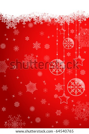 Red christmas background with glossy ball. EPS10