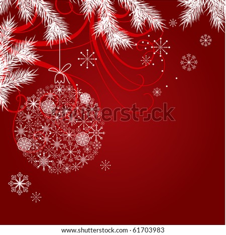 Red christmas background with hanging ball - stock vector
