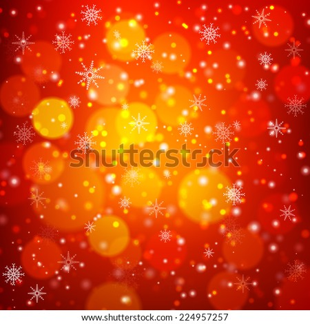 Red Christmas background with light bokeh and snowflakes Vector illustration