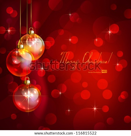 red Christmas background with transparent glimmered evening balls