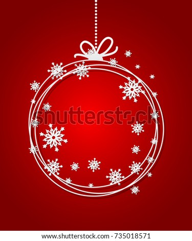 Red Christmas Ball background with paper snowflakes. Christmas card flake. Xmas invitations template. Vector illustration