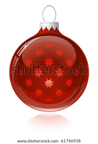 Red christmas ball. Christmas bauble with reflection