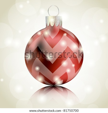 Red Christmas ball isolated on shiny background