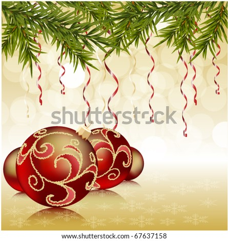 red christmas ball on green new year tree, Christmas background