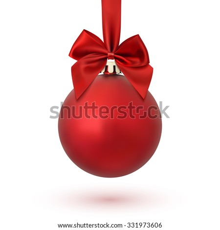 Stock Photo Red Christmas ball with ribbon and a bow, isolated on white background. Vector illustration.