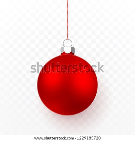 Red Christmas ball. Xmas glass ball on transparent background. Holiday decoration template. Vector illustration.