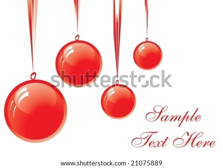 red Christmas balls hanging over white background with copy space, vector illustration #21075889