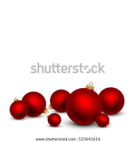 red christmas balls on white