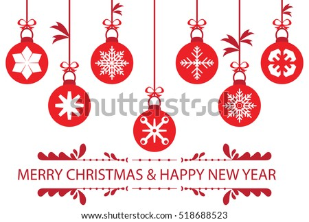 red christmas balls set symbols, Christmas congratulatory card with decorative baubles