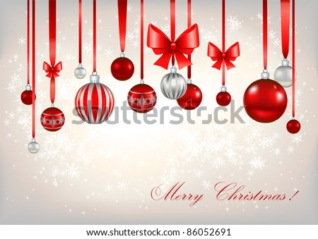 Red Christmas balls with space for text