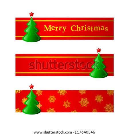 Red Christmas Banner With Fir Three