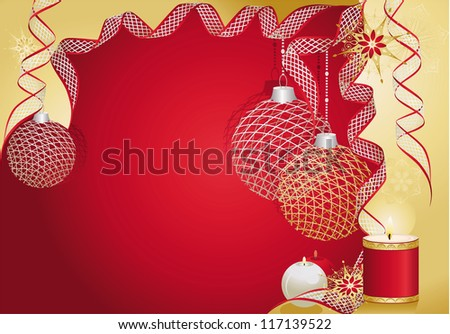 Red christmas card with baubles and candles.