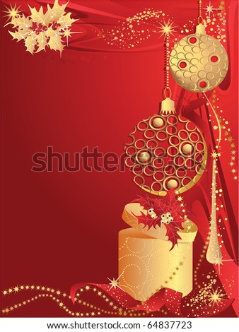Red christmas card with baubles and gift.