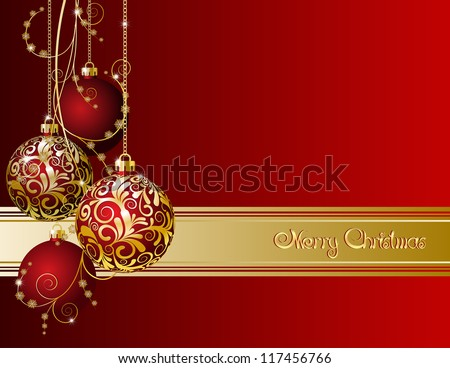 Red Christmas card with Christmas balls and snowflakes
