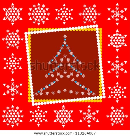 Red Christmas card with snowflakes