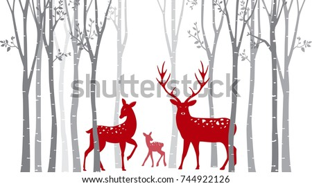 Red christmas deer with birch tree