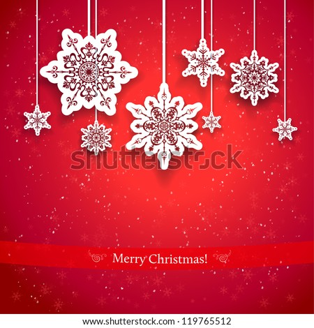 Red Christmas design with decorative snowflakes